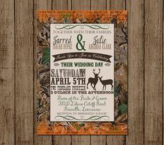 Customized Wedding Invitation, Camo, Orange, Deer, Camouflage, Couples Shower, Bridal Shower, Hunting, Redneck Wedding, 5x, DIY Digital File