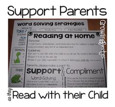 Parent support for at home reading.