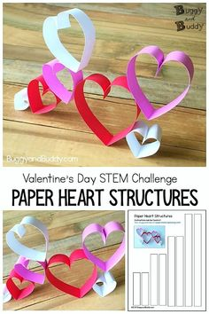 This activity using paper hearts can simply be used as a fun Valentine's Day craft, or you can turn it into a cool STEM or STEAM building activity by proposing various challenges to the kids. Children can use the free printable template to create their pa Valentines Day Activities, Valentine Day Crafts, Craft Activities, Valentines Art For Kids, Steam Activities, Valentinstag Party, Projects For Kids, Craft Projects, Crafts For Kids