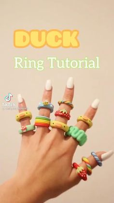 Fimo Ring, Polymer Clay Ring, Fimo Clay, Polymer Clay Crafts, Diy Crafts To Do, Diy Crafts Jewelry, Cute Crafts, Diy Clay Rings, Ring Tutorial