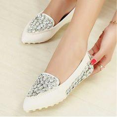 Flats Shoes   Popular White PU Diamond Pointy Closed Toe Flats - Hugshoes.com