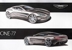 Aston Martin one-77 markers 70x50cm drawn in 2013  by Michał Burakowski