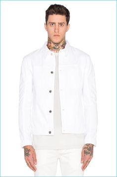 Helmut Lang Distressed White Denim Jacket