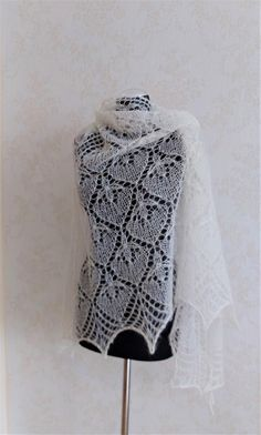 Off White Lace Shawl Mohair Wrap Wedding Shawl Hand Knitted   Etsy