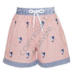 8e44f78f1fc8 Anavini Embroidered Sailfish Red Striped Boys Swim Trunks from Madison-Drake  Children's Boutique
