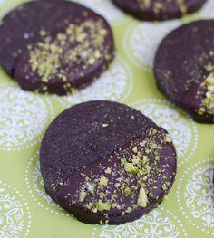 Dark Chocolate Shortbread Cookies with Pistachios and Sea Salt - The Cake Merchant
