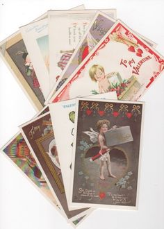 Lot of 9 vintage Valentine's Day Post Cards. 1930s UNUSED blank postcards. Nursery rhymes, funny, cupids, hearts, more. Victorian graphics by PickleladyPapers on Etsy