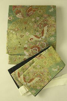 Two part obi set / 鴨の羽色×金地 ゴージャスな花蝶華紋柄 二部式帯   #Kimono #Japan http://global.rakuten.com/en/store/aiyama/