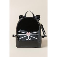 The Viveka Cat Backpack features a cute whiskered cat face with ear accents. Get this patent leather black backpack now!