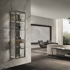 Alambra with this product, Rimadesio gives a contemporary reinterpretation of classic furniture like sideboards, glass cabinets and drawer units. Iron Furniture, Classic Furniture, Furniture Design, Showroom Interior Design, Interior Architecture, Objet Deco Design, Hanging Cabinet, Led Licht, Mobile Bar