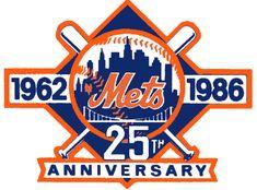 New York Mets Anniversary Logo on Chris Creamer's Sports Logos Page - SportsLogos. A virtual museum of sports logos, uniforms and historical items. Baseball Quilt, Baseball Wall, Mets Baseball, Baseball Jerseys, Baseball Cards, New York Mets Logo, Hockey Logos, Sports Logos