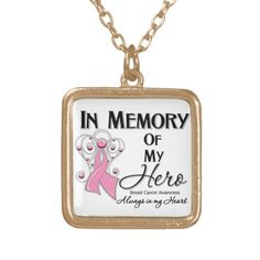 Beautiful Angel Ribbon Breast Cancer In Memory of My Hero Necklace by cancerapparelgifts.com #breastcancerawareness #pinkribbonnecklace #awarenessjewelry