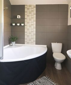 Give your bathroom a traditional look. This classic bathroom with large-format tiles and corner bath is a modern take on a retro design Bathroom Spa, Grey Bathrooms, Modern Bathroom, Master Bathroom, Minimalist Bathroom, Bathroom Colors, Bathroom Ideas, Best Bathroom Designs, Bathroom Interior Design