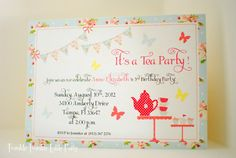 Shabby Chic Tea Party Birthday Invitation & by twinklelittleparty, Etsy, ║✿ pinned by Colette's Cottage✿