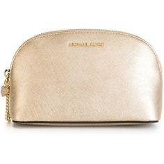 Michael Michael Kors Alex Make-Up Bag (300 BRL) ❤ liked on Polyvore featuring beauty products, beauty accessories, bags & cases, beauty, metallic, travel bag, dop kit, toiletry bag, leather dopp bag and leather toiletry kit