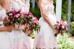Pretty Pink Bridesmaid Bouquets Graceful Relaxed Summer Garden Wedding http://www.nataliemartinphoto.com/