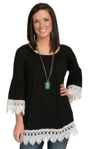 R. Rouge Women's Black Knit with White Crochet Cuff & Hem 3/4 Sleeve Top | Cavender's