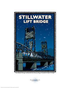 "Landmark Series ""Stillwater Lift Bridge Night"" Stillwater,MN by Graphic Artist, Mark Herman. Page Frames, See Picture, Vintage Art, Vintage Travel, Vintage Style, Travel Posters, Note Cards, Framed Art, Wall Art"