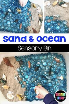 Sand and Ocean Sensory Bin for an ocean preschool theme Explore the wonders of the ocean with these math and literacy activities that provide hands-on learning through play for our preschoolers! Beach Theme Preschool, Preschool Classroom, Preschool Crafts, Summer Preschool Themes, Preschool Ocean Activities, Summer Activities For Preschoolers, Literacy Activities, Kindergarten, Daycare Curriculum