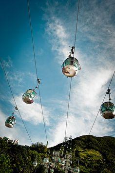 Look up at the cable cars at Ocean Park, Hong Kong.