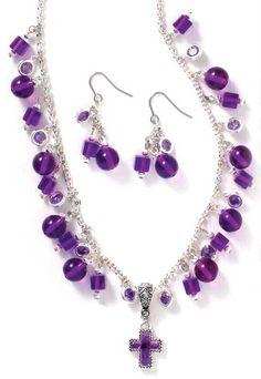 purple jewelry | Purple Beaded Cross Necklace & Earrings