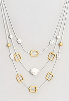 Anne Mixed Metal 3 Strand Necklace, 9-0035871764, Anne Mixed Metal 3 Strand Necklace Main View PGP