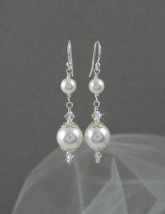 Ohrringe lang baumeln Pearl Hochzeit Ohrringe von CrystalAvenues