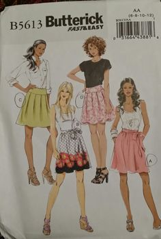 Butterick Pattern B5613 Ladies Skirt 4 Styles and Sash sizes 6-12 FREE SHIPPING