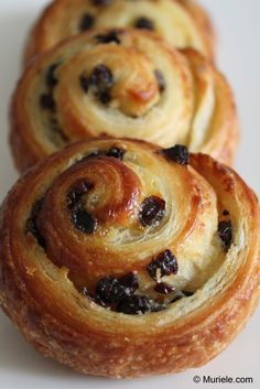 """Pains aux raisins - more happy childhood memories, from after school heures""""… Breakfast Pastries, Sweet Pastries, French Pastries, Pastry Recipes, Dessert Recipes, Cooking Recipes, French Desserts, French Recipes, Sweet Bread"""