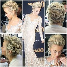 Julianne Hough styled by Riawna Capri Wedding Hair And Makeup, Wedding Beauty, Hair Makeup, Formal Hairstyles, Bride Hairstyles, Short Hair Updo, Curly Hair Styles, Bridesmaid Hair, Prom Hair