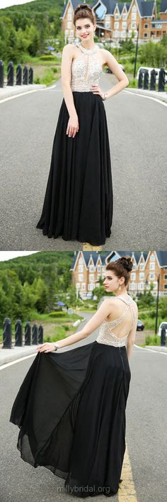 Back Prom Dresses Long,Classy A-line Formal Dresses Scoop Neck, Chiffon Tulle Evening Party Dresses Black Open