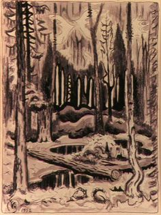 Charles E. Burchfield   Spirit of the North Woods , 1952