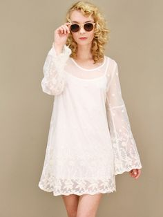 bohemian ivory dress with embroidered floral detailing, bell sleeves | shopcuffs.com