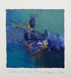 "Jan. 10, 2017 9 cm x 9 cm (app. 4"" x 4"") oil on canvas  © 2017 Hiroshi Matsumoto"