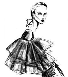 Lara Wolf. American Illustrator. Week 1 Eduardo. Graphite pencil. There is a really strong use of line and effective use of different thicknesses, I like the softness of the garment paired with the strength in the face and silhouette.