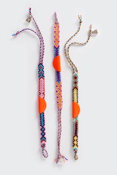 GOOD AS GOLD | Online Clothing Store | Mens & Womens Fashion | Streetwear | NZ — Taco Friendship Bracelet, neon orange/sterling silver/cotto...