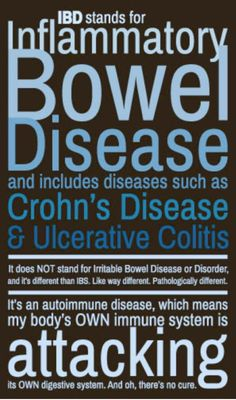 What it stands for. IBD is Inflammatory bowel disease and IBS is Irritable Bowel Syndrome. Big difference