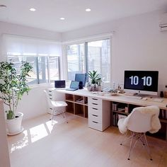 modern home office with ikea desk, two person desk in neutral home office decor, modern home office design Ikea Office, Home Office Space, Home Office Desks, Office Decor, Office Ideas, Office Designs, Desk Ideas, Ikea Ideas, Office Workspace