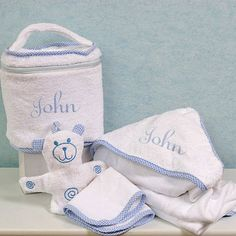 """""""Travel in Style"""" Blue Four-Piece Bath Gift Set - Personalized"""