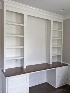Built-In Desk with Raised Panel Filing Drawers, Maple Stain Countertop & Adjusta. - Built-In Desk with Raised Panel Filing Drawers, Maple Stain Countertop & Adjusta… – Bookshelves Built In, Built In Desk, Built In Cabinets, Custom Cabinets, Mesa Home Office, Home Office Space, Home Office Desks, Office Nook, Home Office Shelves