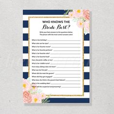 Navy and Floral Bridal Shower Games, Who Knows The Bride Best, How Well Do You Know The Bride - SKUHDG13 by hellodreamstudio on Etsy