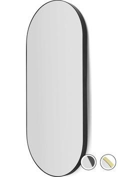 Arles Rounded Rectangular Wall Mirror 43 x Matt Black Oval Mirror, Black Mirror, Front Door Entryway, Kitchen Conversion, Bathroom Rules, Toilet Design, Stay Wild, Bath Ideas, Interior Accessories