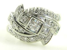 Antique Ladies Art Deco 1 00 Carat Diamond 14k White Gold Anniversary Ring | eBay