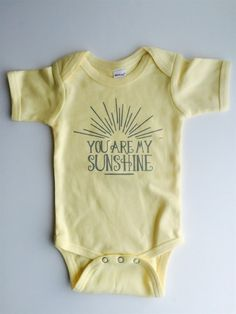 You are my SUNSHINE! Time to stock up on baby shower gifts! Such a perfect present for a soon-to-be momma and daddy. This adorable bodysuit also makes Baby Outfits, Sunshine Baby Showers, Miracle Baby, Baby Bodysuit, Baby Girl Onesie, Girl Onsies, Cute Baby Clothes, My Baby Girl, Baby Gifts