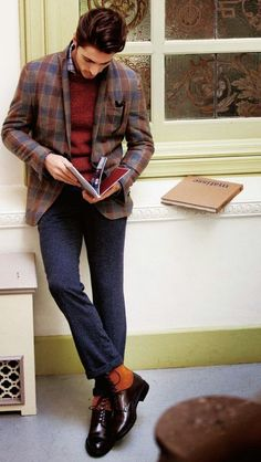 Shop this look on Lookastic:  http://lookastic.com/men/looks/long-sleeve-shirt-crew-neck-sweater-blazer-dress-pants-boots/8902  — Light Violet Plaid Long Sleeve Shirt  — Burgundy Crew-neck Sweater  — Brown Plaid Wool Blazer  — Charcoal Wool Dress Pants  — Dark Brown Leather Boots