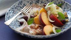 Peach and prosciutto salad with feta and mint vinaigrette