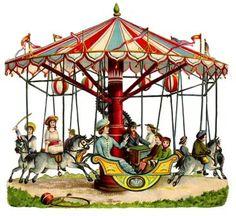 Vintage carousel at the county fair.