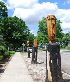 Wooden tribal sculptures in Broad Ripple Village, Indianapolis, Indiana