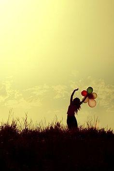 balloons, dance, free, girl, happy, inspiration