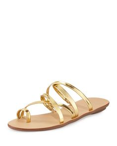 Loeffler Randall, Sarie Strappy Leather Sandal in Gold, $175